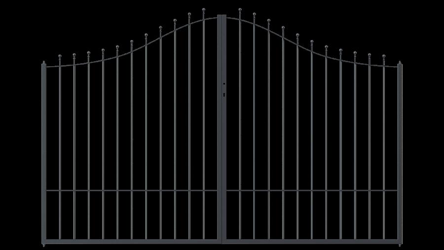 Hoftor Ancona in geschwungener Form mit Spitze Kugelstab, pulverbeschichtet
