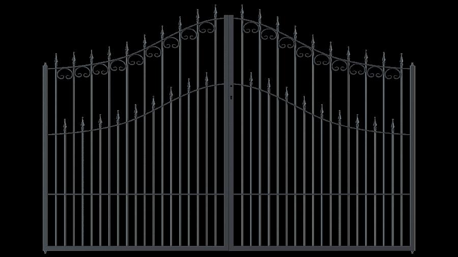 Hoftor Lugano in geschwungener Form mit Spitze Stab, pulverbeschichtet