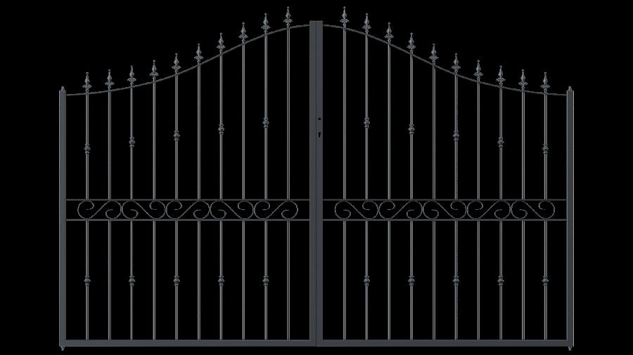 Hoftor Balerna in geschwungener Form mit Spitze Kugellilie, pulverbeschichtet