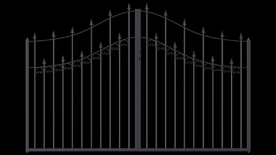 Hoftor Lana in geschwungener Ausführung mit Spitze Kreuzlilie, pulverbeschichtet